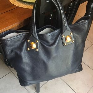Navy Blue Leather Gucci Tote Bag
